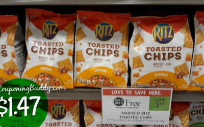 Ritz Toasted Chips $1.47 a bag at Publix