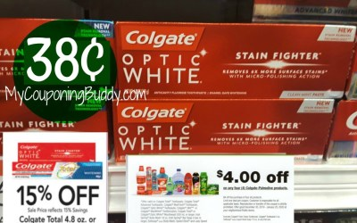 Colgate Total 4.8 oz. or Optic Stain Fighter Toothpaste 38¢ at Publix
