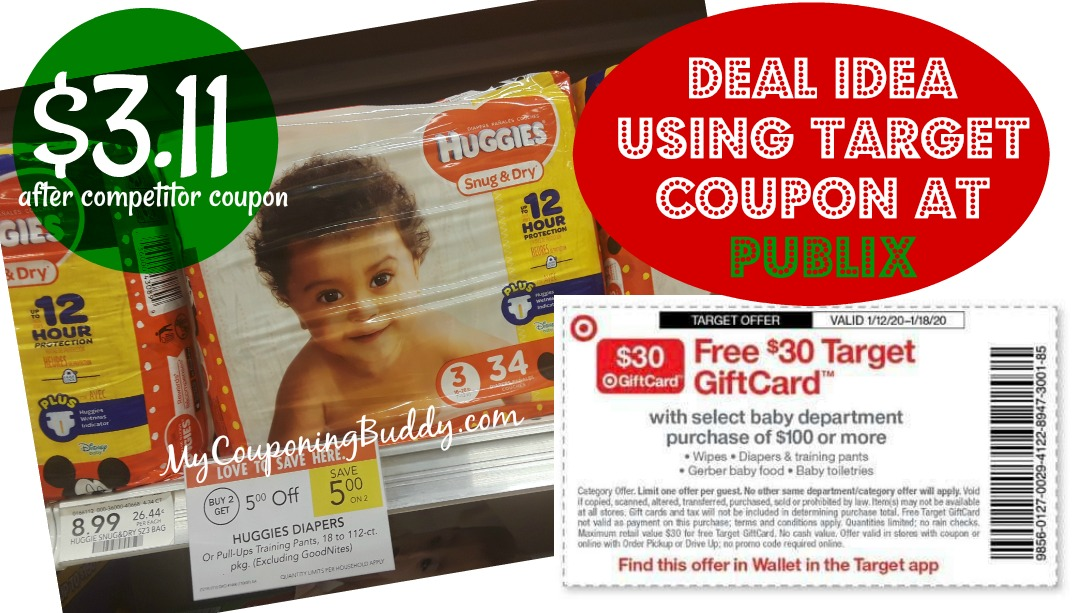 Target Gift Card Coupon Offer Scenario at Publix on Huggies Diapers