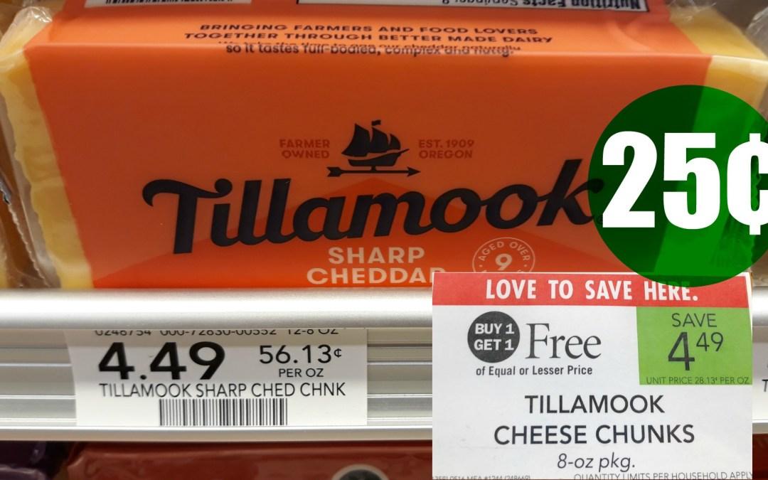 Tillamook Chunk Cheese 25¢ Publix
