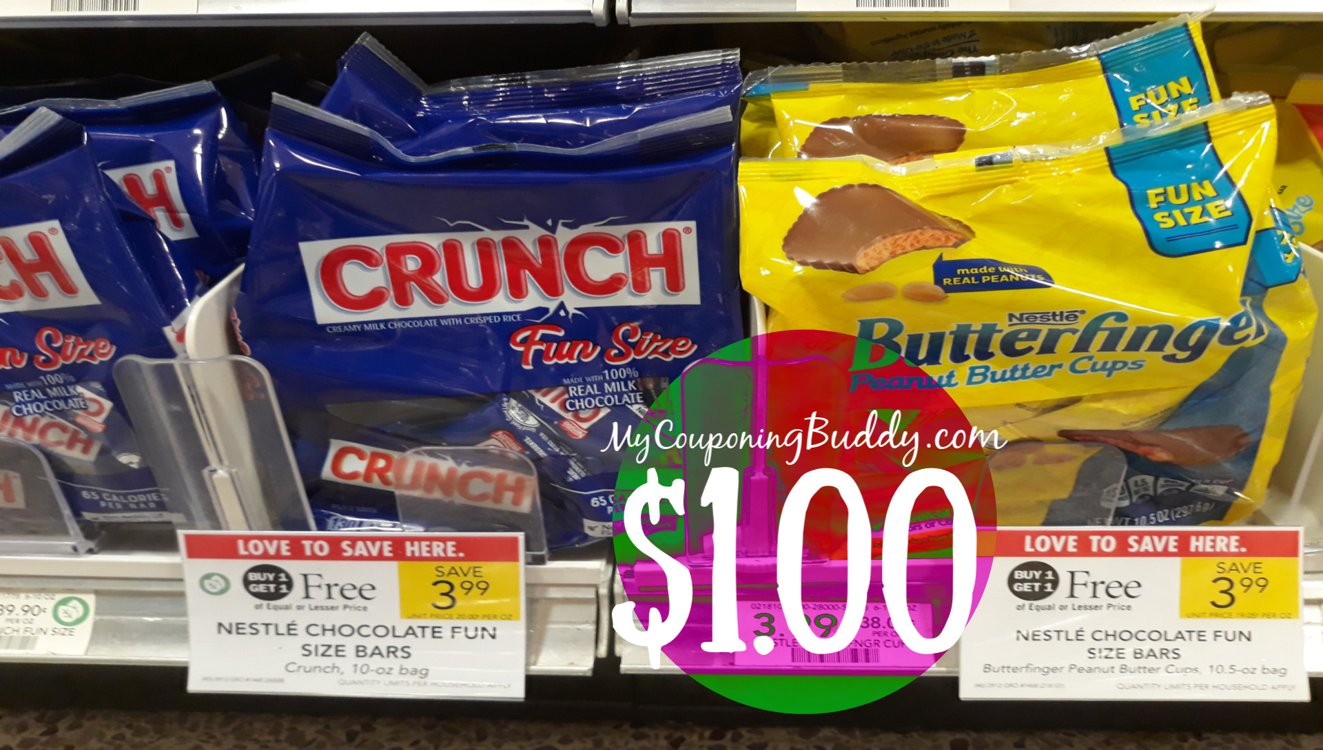 Nestle Fun Size Candy Butterfinger, Crunch or Baby Ruth $1 ...