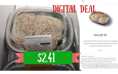 Publix  Parmesan Chicken Cutlets Digital Couponing Deal this week!