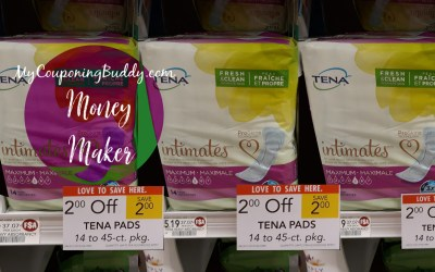 Tena Maximum Pads Money Maker at Publix
