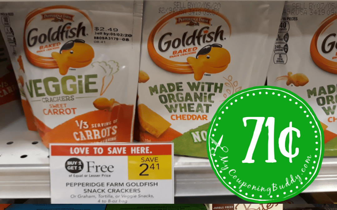 Goldfish Veggie Crackers 71¢ at Publix