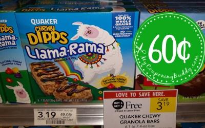 Quaker Chewy Granola Bars 60¢ at Publix