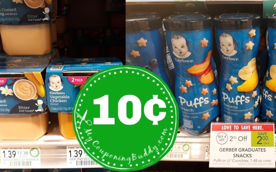 Gerber Snacks & Baby Food  10¢ at Publix