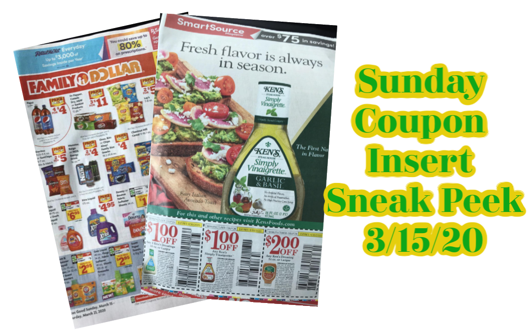 Sunday Coupon Insert Sneak peek 3/15/20