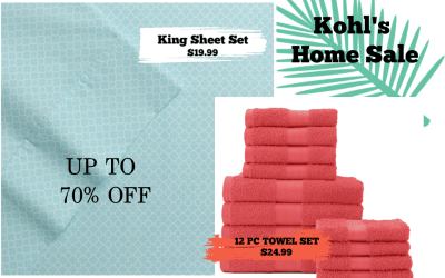 Kohl's Home Sale Up to 70% off – Great  Sheets & Towel Deals