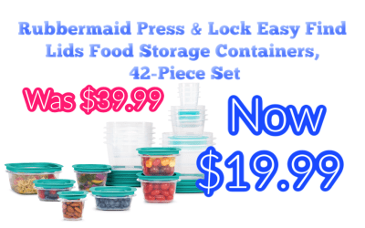 Rubbermaid Press & Lock Easy Find Lids Food Storage Containers, 42-Piece Set