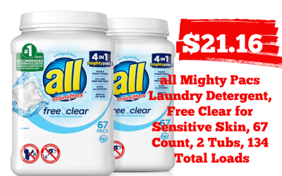 all Mighty Pacs Laundry Detergent, Free Clear for Sensitive Skin, 67 Count, 2 Tubs, 134 Total Load