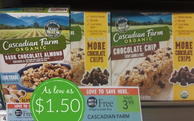 Cascadian Farm Granola Bars or Cereal as low as box