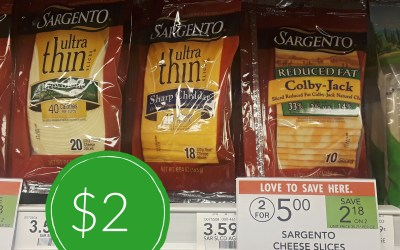 Sargento Cheese Slices $2 at Publix