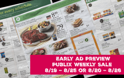 Early Ad Preview Publix Weekly Sale 8/19 – 8/25 or 8/20 – 8/26