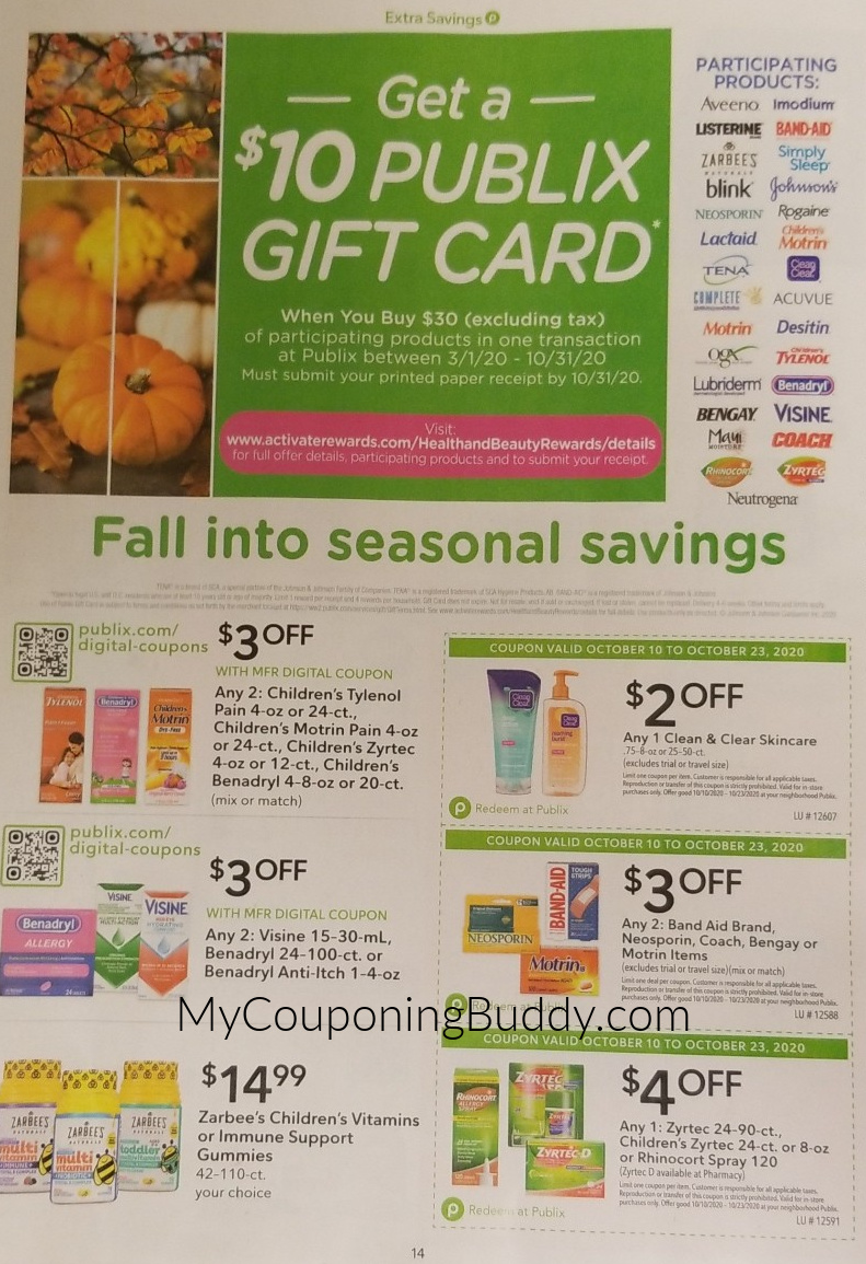 Publix Extra Savings Flyer early Ad Preview 10/10/20 to 10/23/20