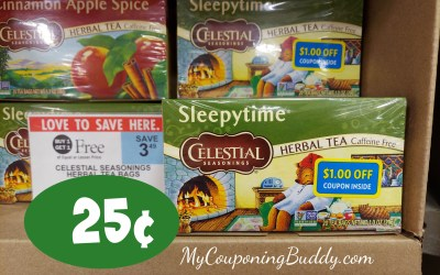 Celestial Seasonings Tea 25¢ (after coupons & Ibotta)