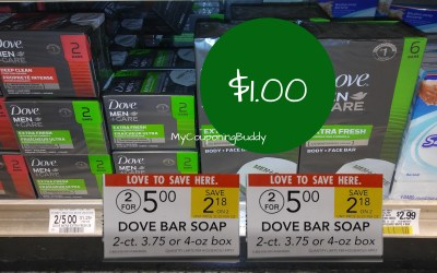 Dove Men+Care Bar Soap 2pk $1 at Publix