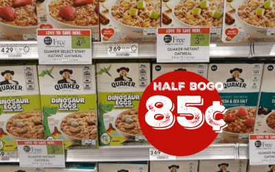 Quaker Dino or Smores Instant Oatmeal 85¢ w/ Digital Coupon at Publix