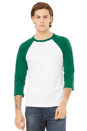 BELLA+CANVAS ® Unisex 3/4-Sleeve Baseball Tee - White/Green
