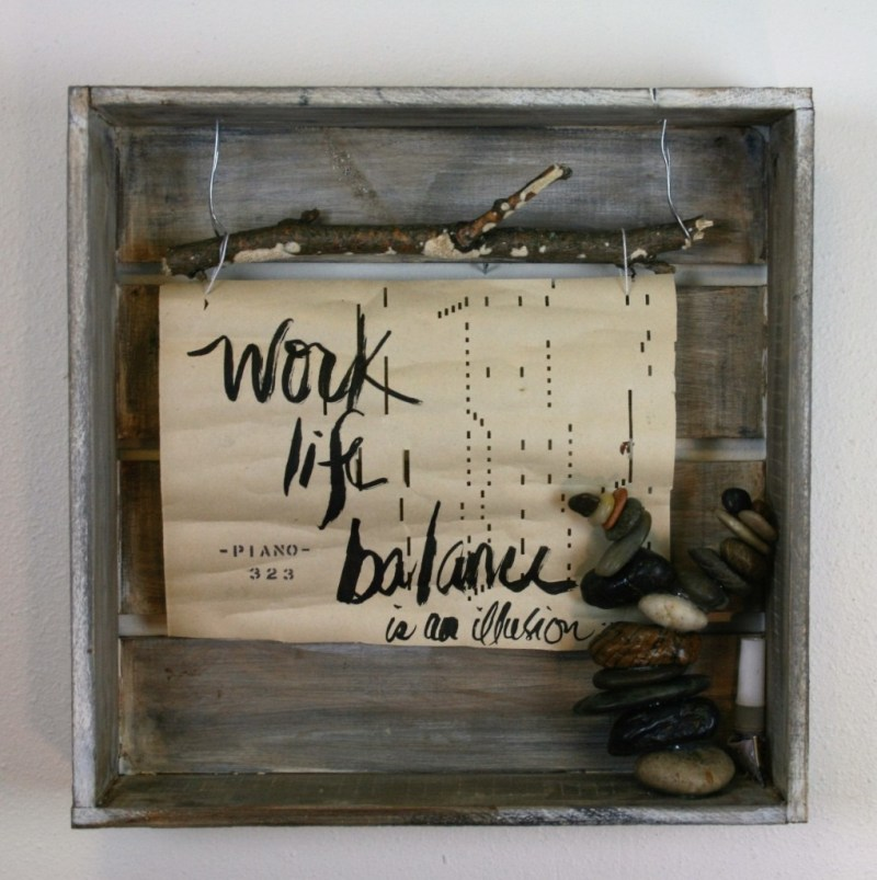 mixed media, assemblage, work life balance, kragel, superwoman, glue