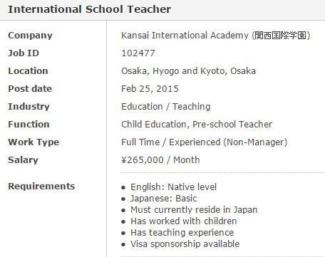 Un exemple d'une offre d'emploi pour une école de langue.
