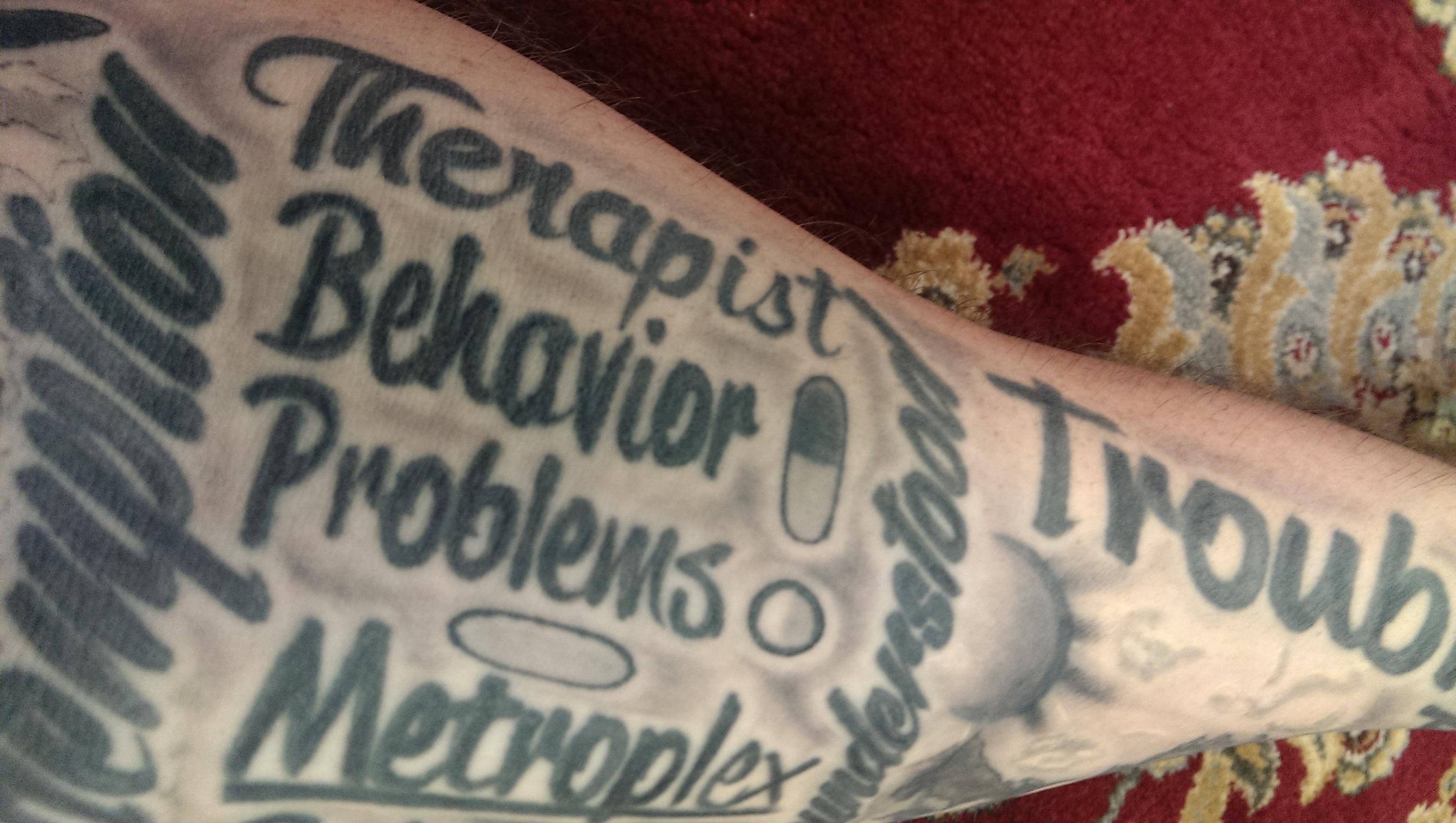 therapist, behavior problems, pills tattoo