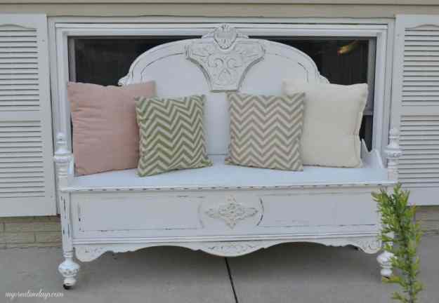 repurposed bed to bench tutorial - my creative days