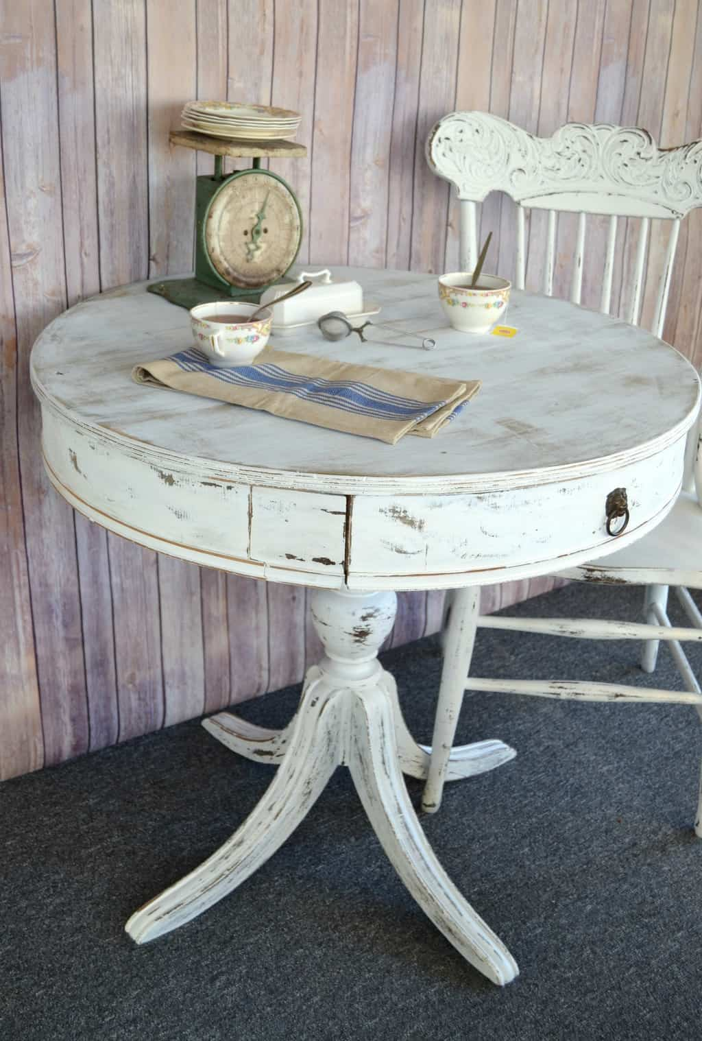 white painted table and chairs rolling chair mats for hardwood floors diy furniture round my creative days
