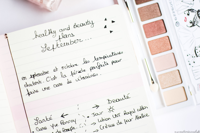 bullet journal page exemple routine beaute