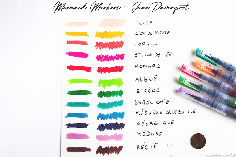 mermaid markers jane davenport swatchs couleurs avis test