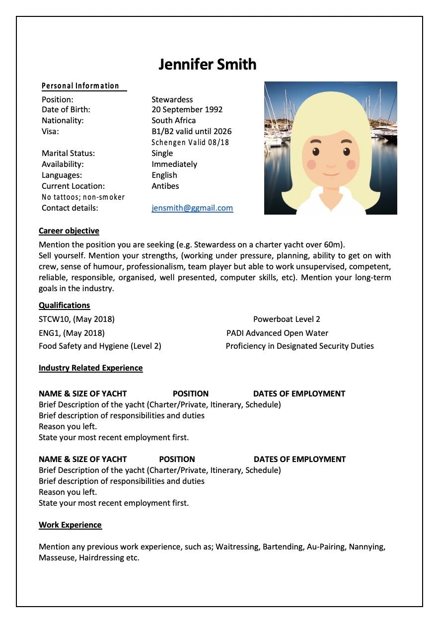 yacht deckhand resume sample