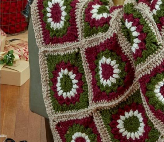 Crochet Yuletide Motif Throw Free Pattern