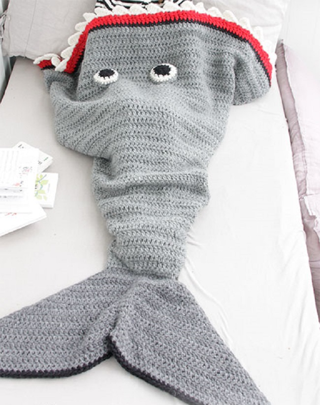 Crochet Shark Attack Blanket 2