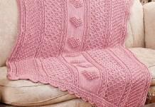 Crochet Aran Hearts Throw