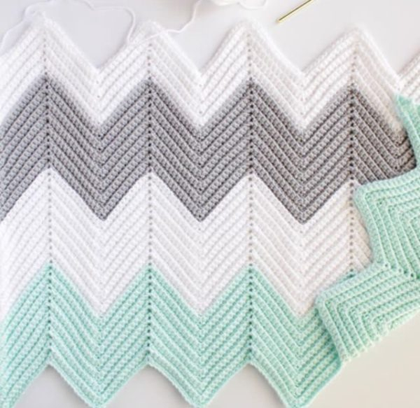 A Chevron Crochet Blanket Basic Guide Crochet Chevron Blanket In Mint Dove And White Daisy Farm Crafts