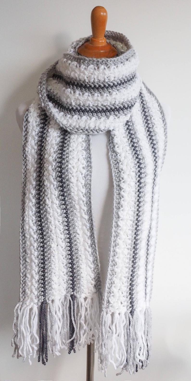 Best Products to Make with the Chunky Yarn Crochet Pattern Chunky Yarn Scarf Crochet Pattern Striped Scarf Pattern Womens Easy Scarf Crochet Pattern Neck Warmer Pdf Pattern
