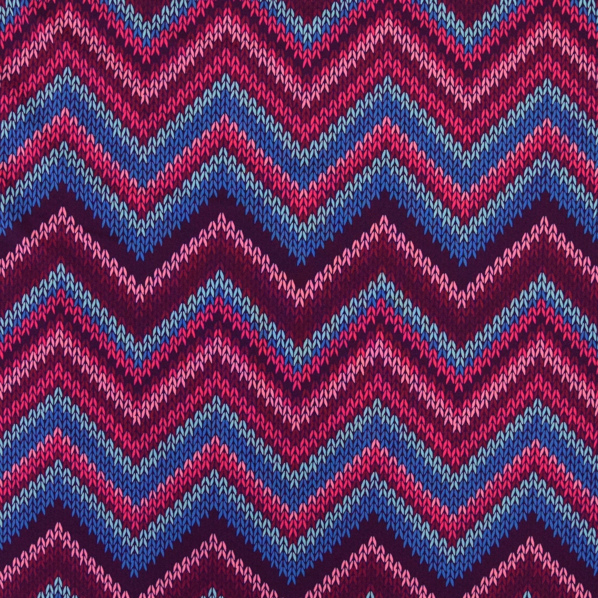Chevron Knitting Pattern Softshell Chevron Knit Motif Bright Pink Multicolour Fabrics Hemmers