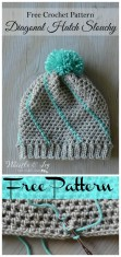 Crochet Beanie Pattern Easy Diagonal Hatch Slouchy Hat Free Crochet Pattern