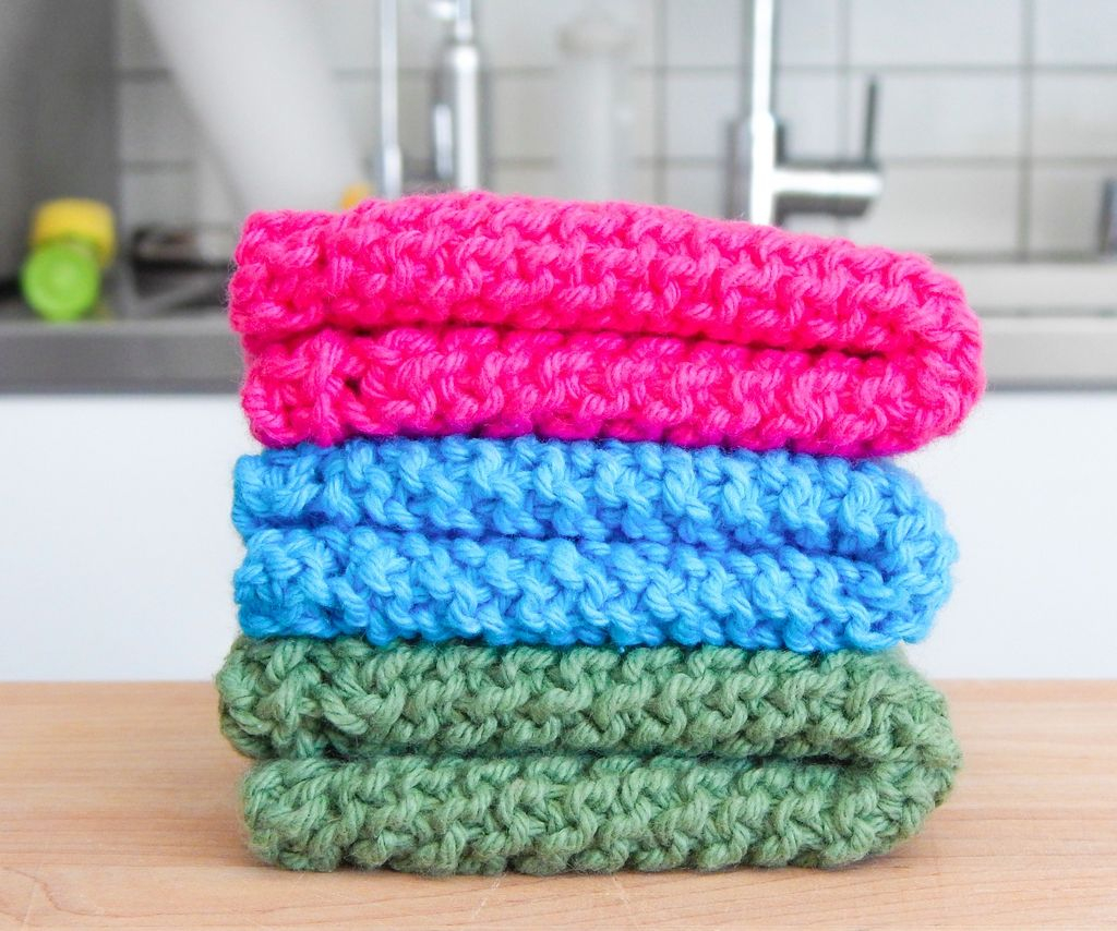 Crochet Dishcloths Free Patterns  Easy Knit Dishcloth Washcloth 3 Steps With Pictures