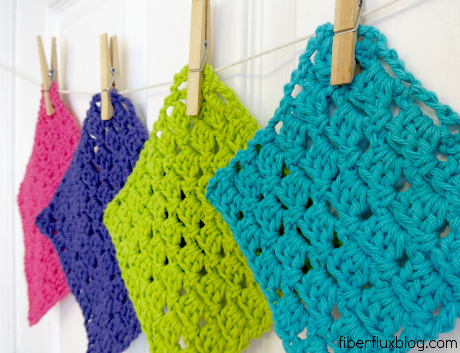Crochet Dishcloths Free Patterns  Fiber Flux Free Crochet Patternsparkling Clean Dishcloths
