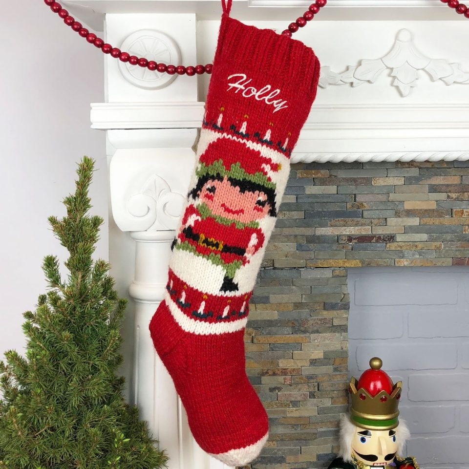 Crochet Stocking Pattern  Christmas Stocking Personalized Knit Vintage Girls Knitting Pattern