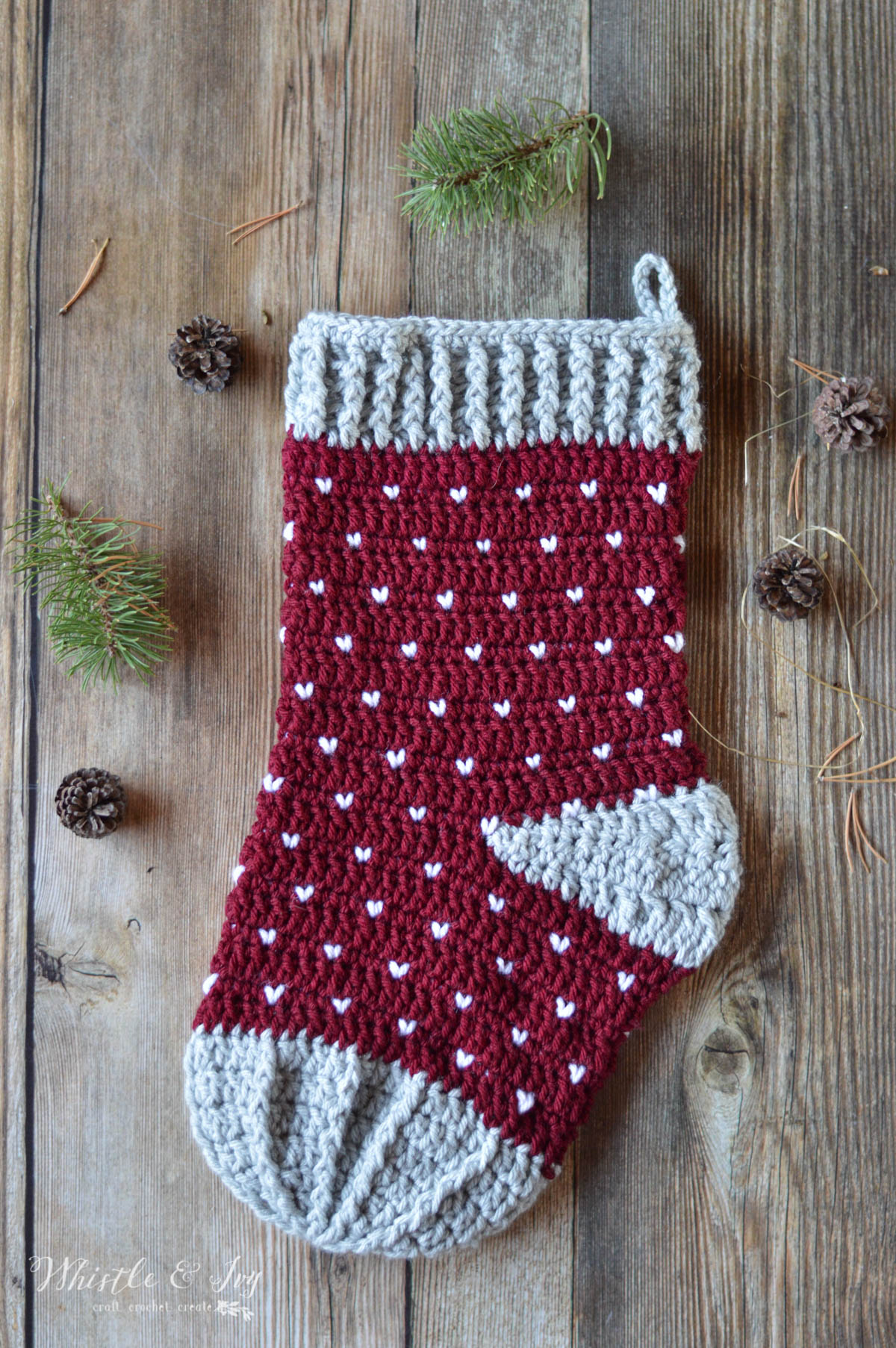 Crochet Stocking Pattern  Crochet Snowfall Stocking Whistle And Ivy