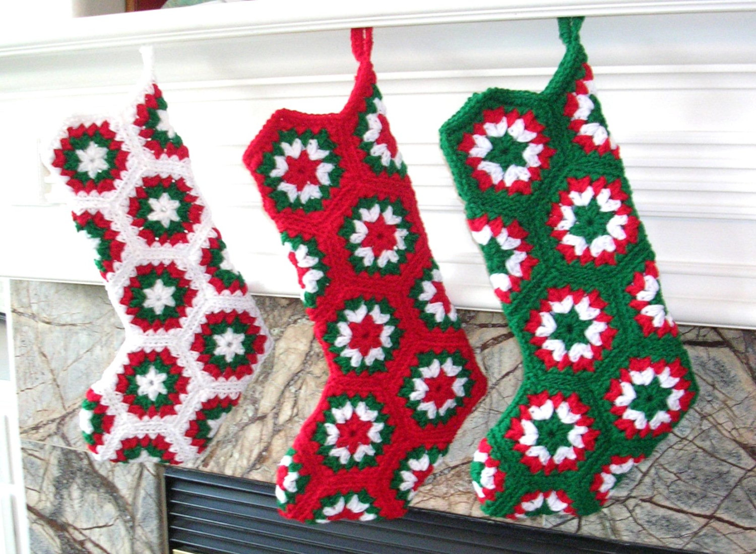 Crochet Stocking Pattern  Handmade Crochet Stocking Granny Hexagon Pattern