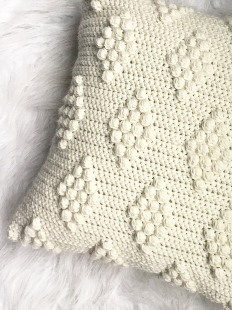 Diamond Crochet Pattern  Crochet Pattern Diamonds In The Puff Pillow Pattern Crochet Etsy