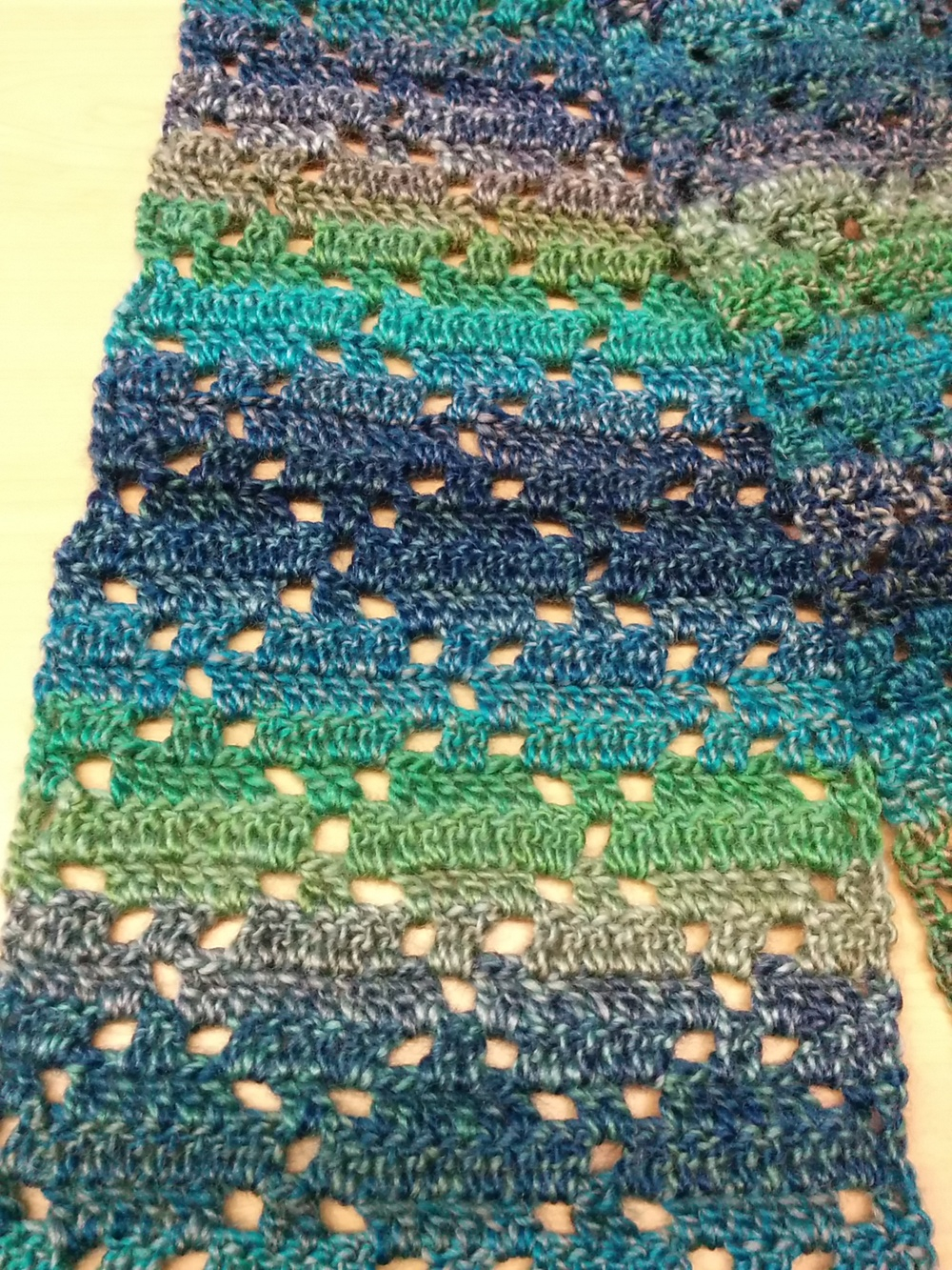 Diamond Crochet Pattern  Diamond Eyelet Scarf First Fo For 2015 Wwwhooksandthread