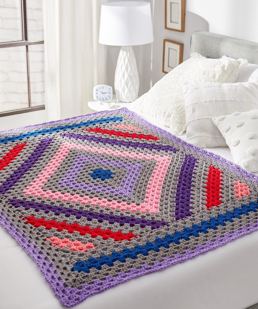 Diamond Crochet Pattern  Diamond In The Rough Crochet Throw Red Heart