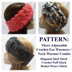 Ear Warmers Crochet Pattern Pattern Three Crochet Ear Warmer Neck Warmer Patterns Etsy