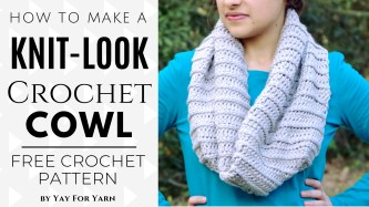 Knit Crochet Patterns Knit Look Cowl Free Crochet Pattern Video Tutorial