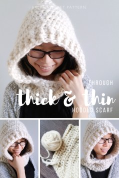 Scoodie Crochet Pattern Free Through Thick And Thin Hooded Scarf Scoodie Crochet Pattern