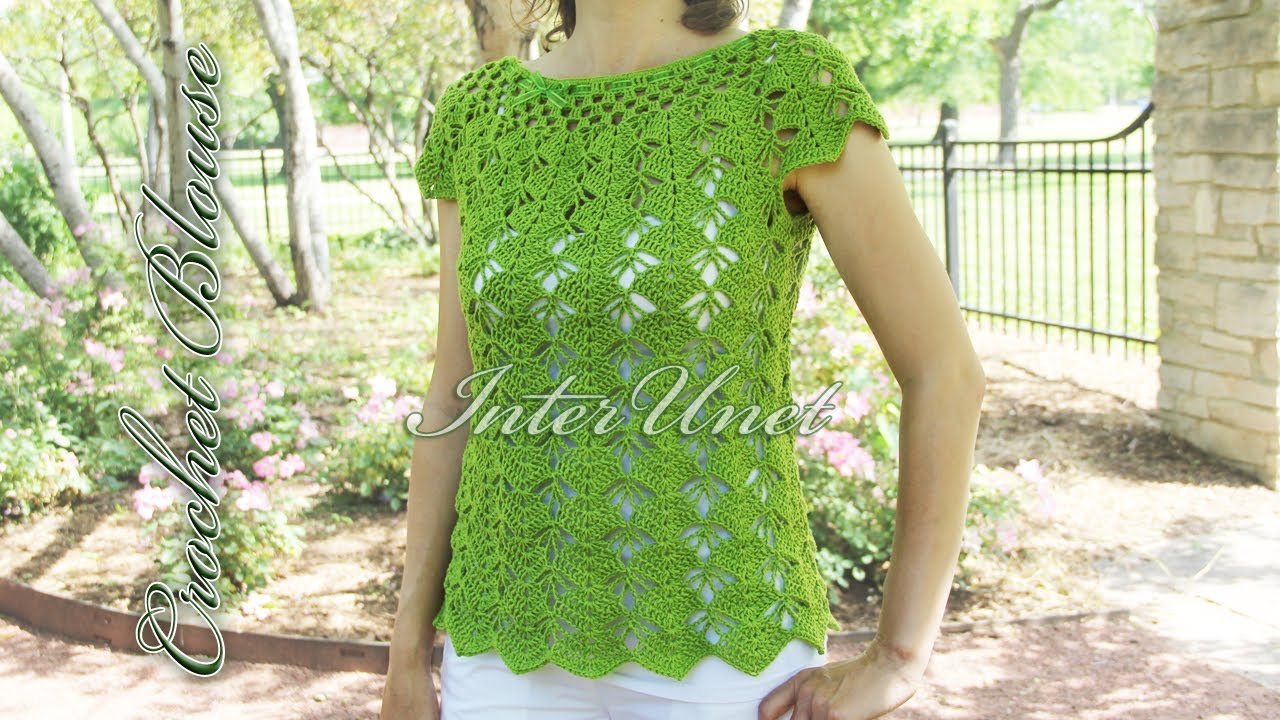 Summer Crochet Pattern Crochet Top Down Blouse Sleeveless Summer Top Crochet Pattern