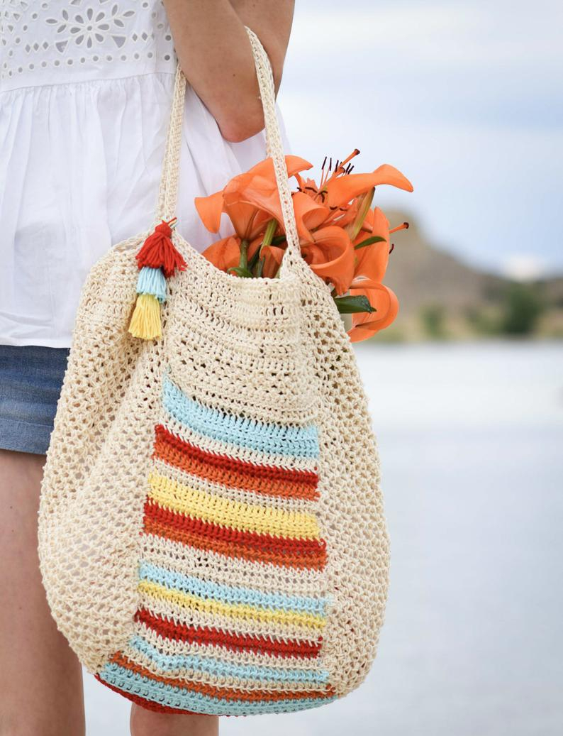 Summer Crochet Pattern Summer Crochet Tote Pattern Hobo Bag Pattern Big Bag Crochet Etsy
